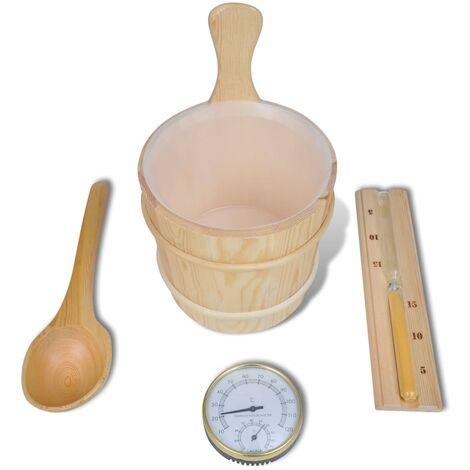 Sauna Accessories 5 Pieces Bucket Spoon Hourglass Hygrometer