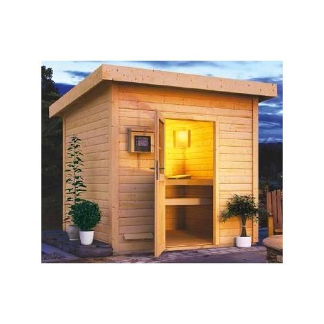 Sauna Bois 38mm D Extérieur Torge Karibu 3 4 Places Avec Poêle Bi O 9kw
