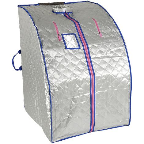 Sauna Box Bain de Vapeur mobile Spa Pliable Ménage à Vapeur Télécommande Température Argenté 220V Prise EU