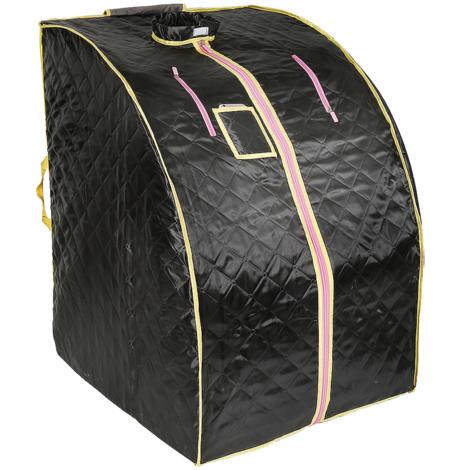 Sauna Box Bain de Vapeur mobile Spa Pliable Ménage à Vapeur Télécommande Température Noir 220V Prise EU