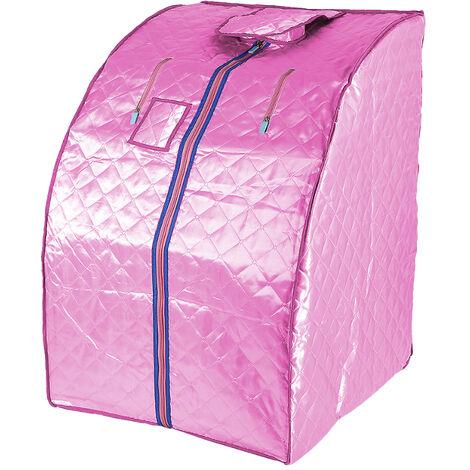 Sauna Box Bain de Vapeur mobile Spa Pliable Ménage à Vapeur Télécommande Température Rose 220V Prise EU - Rose
