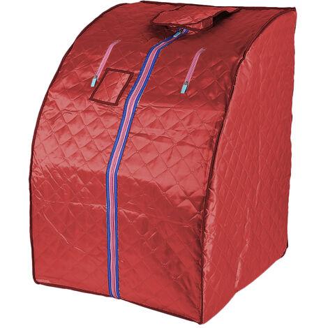 Sauna Box Bain de Vapeur mobile Spa Pliable Ménage à Vapeur Télécommande Température Rouge 220V Prise EU - Rouge