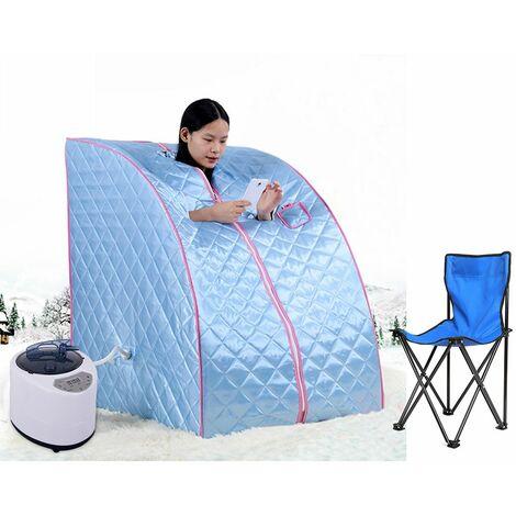 Sauna cabine de sauna vapeur Heim Sauna chaleur Siège Cabine sauna Prise EU Mini Bleu clair - Bleu