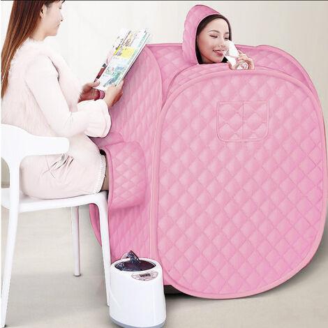 Sauna de vapor móvil para 2 personas sauna de vapor con asiento de sauna con generador de vapor 1000W Rosa claro