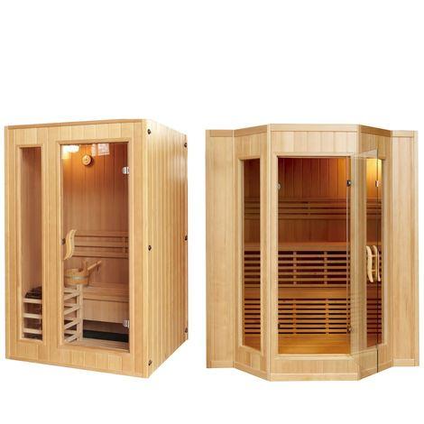Sauna finlandese 153x110 o 200x175cm 3/4 posti in legno canadese accessori inclusi