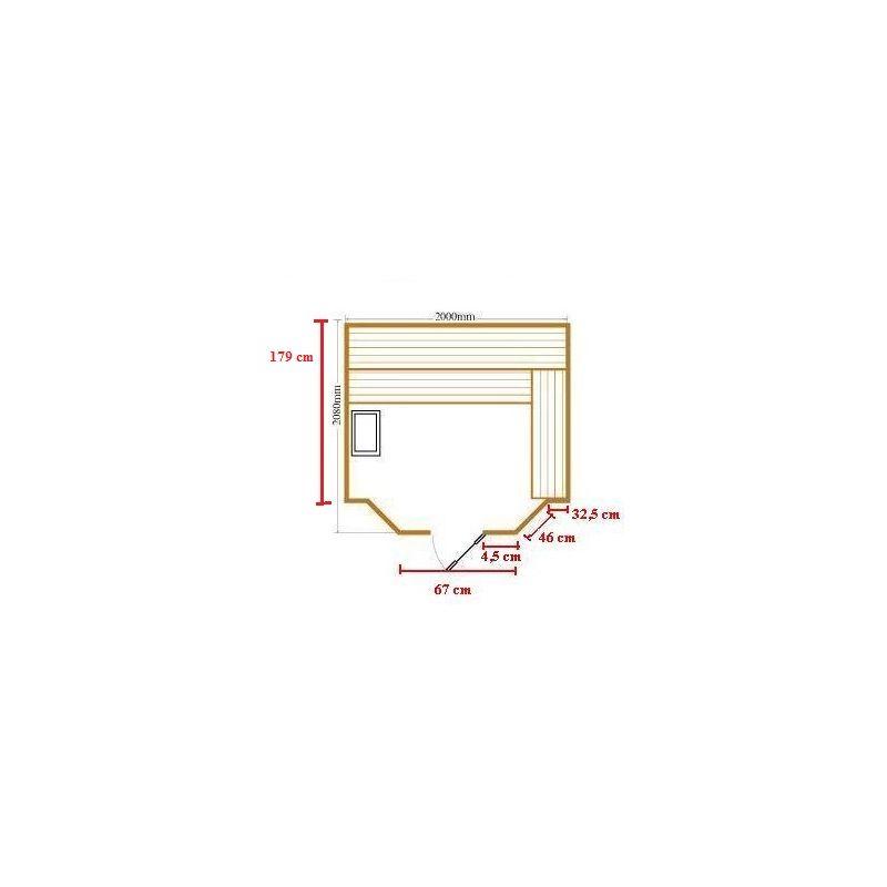 Bagno italia Sauna Finlandese cm 200x208 da 5 posti in legno hemlock stufa harvia I