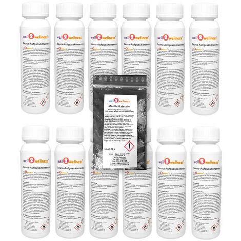 Saunaaufguss Set 12 x 125 ml freie Duftwahl plus 10g Mentholkristalle Adventszauber