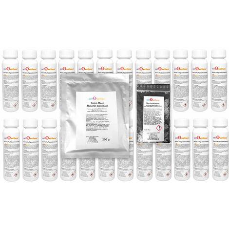 Saunaaufguss Set 24 x 125 ml Sortiment mit 200g Badesalz plus 10g Mentholkristalle