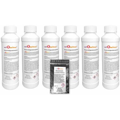 Saunaaufguss Set 6 x 250 ml Freie Duftwahl plus 10g Mentholkristalle