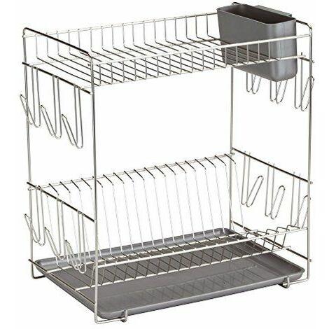 Sauvic 90980-Égouttoir à vaisselle, inoxydable 18/8, avec plateau gris, grand, 43 x 25 x 41,5 cm.
