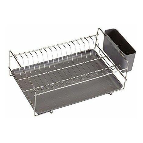 Sauvic 90990-Égouttoir à vaisselle, inoxydable 18/8, avec plateau gris, 38,5 x 25 x 12cm.