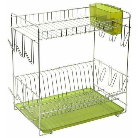 Sauvic 91010-Égouttoir à vaisselle, inoxydable 18/8, avec plateau vert, 43 x 25 x 41,5 cm