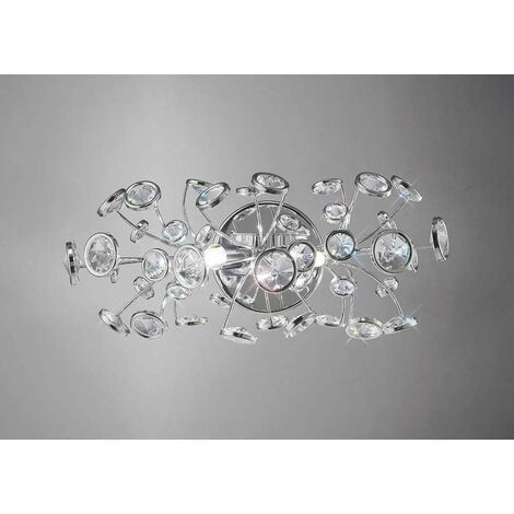 Savanna wall light with switch 2 lights polished chrome / crystal