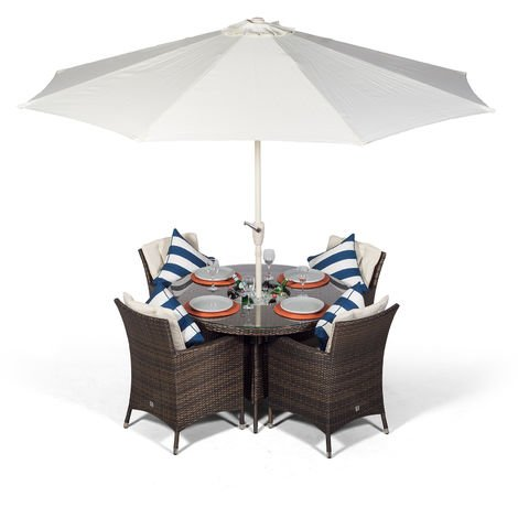 Savannah 4 Seater Brown Rattan Dining Table & Chairs with Ice Bucket Drinks Cooler | Outdoor Rattan Garden Dining Set Rattan with Parasol & Cover