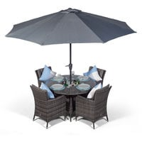 Savannah 4 Seater Grey Rattan Dining Table & Chairs with Ice Bucket Drinks Cooler | Outdoor Rattan Garden Dining Set with Parasol & Cover