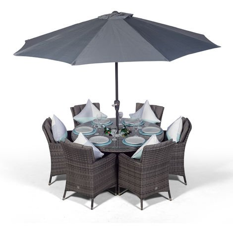 Savannah 6 Seater Grey Rattan Dining Table & Chairs with Ice Bucket Drinks Cooler | Outdoor Rattan Garden Dining Set with Parasol & Cover