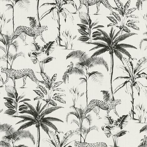Savannah Black White Wallpaper Rasch Paste The Wall Animals Leopard Trees