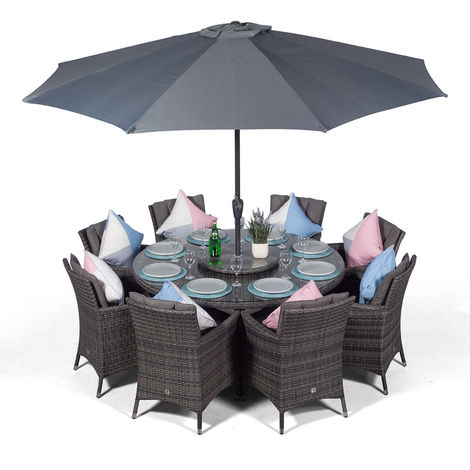 Savannah Rattan Dining Set   Large Round 8 Seater Grey Rattan Dining Set   Outdoor Rattan Garden Table & Chairs Set   Patio Conservatory Wicker Garden Dining Furniture with Parasol & Cover