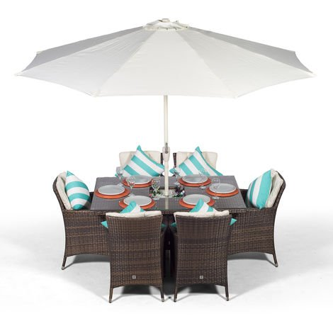 Savannah Rattan Dining Set | Rectangle 6 Seater Brown Rattan Table & Chairs Set with Ice Bucket Drinks Cooler | Outdoor Rattan Garden Dining Furniture Set with Parasol & Cover