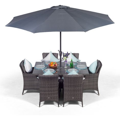 Savannah Rattan Dining Set   Rectangle 6 Seater Grey Rattan Dining Set   Outdoor Rattan Garden Table & Chairs Set   Patio Conservatory Wicker Garden Dining Furniture with Parasol & Cover