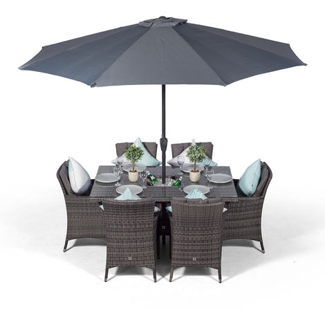 Savannah Rattan Dining Set   Rectangle 6 Seater Grey Rattan Table & Chairs Set with Ice Bucket Drinks Cooler   Outdoor Rattan Garden Dining Furniture Set with Parasol & Cover