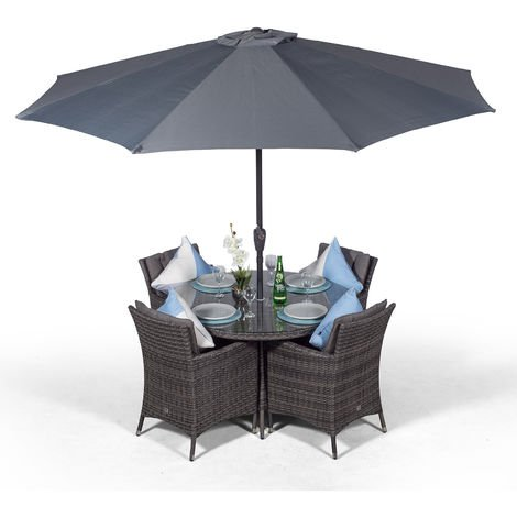 Savannah Rattan Dining Set | Round 4 Seater Grey Rattan Dining Set | Outdoor Rattan Garden Table & Chairs Set | Patio Conservatory Wicker Garden Dining Furniture with Parasol & Cover