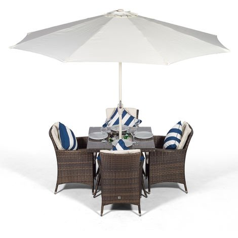 Savannah Rattan Dining Set | Square 4 Seater Brown Rattan Table & Chairs Set with Ice Bucket Drinks Cooler | Outdoor Rattan Garden Dining Furniture Set with Parasol & Cover