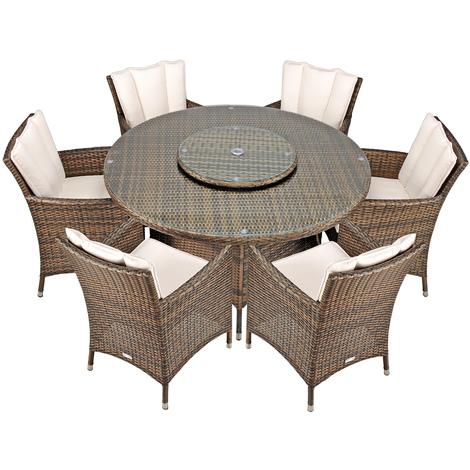 Savannah Rattan Garden Furniture [6 Seat Dining Set Plus Back Cushion]