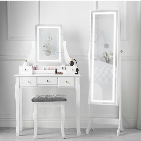 Savannah x Renee White Dressing Table Touch Screen LED Light Rectangle Mirror Jewellery Storage Makeup Cabinet