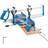 Saw table with saw - bench saw, table top saw, workshop table saw - blue