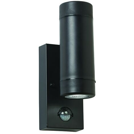 Saxby Icarus PIR - Outdoor Up Down 2 Light Wall IP44 5W Black Polypropylene