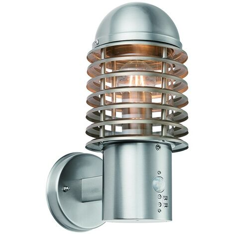 Saxby Louvre PIR - Outdoor Wall 1 Light IP44 60W Brushed Stainless Steel