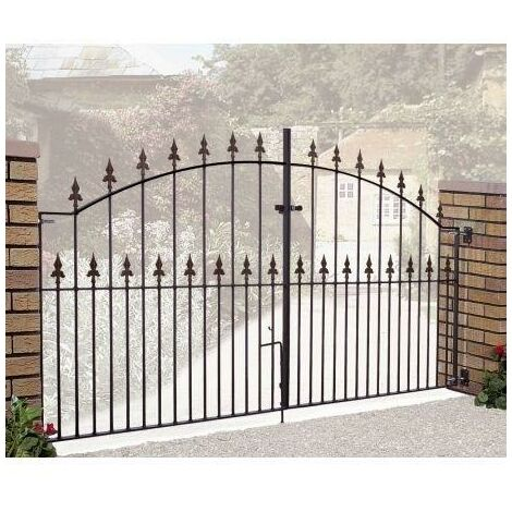 "Saxon Arched Double Gate 48"" High x 10' Gap Zinc Powder"