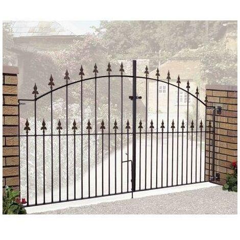 "Saxon Arched Double Gate 48"" High x 12' Gap Zinc Powder"
