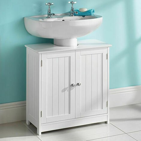 SAXONY WHITE WOOD UNDER SINK CABINET BATHROOM STORAGE UNIT