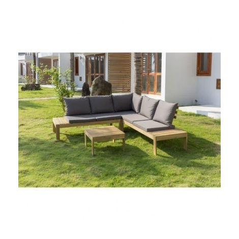 SAYADA Salon de jardin en bois dacacia - un canape dangle et ...