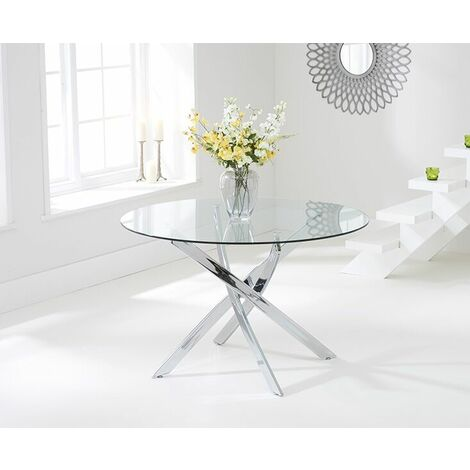 Saytana 120cm Glass Round Dining Table