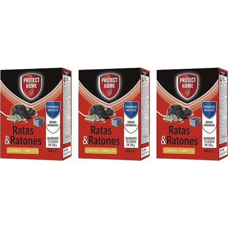 SBM - Protect Home Raticida, mata ratas y ratones en Bloques 15x20gr - 3 x 300gr (Brodifacoum)