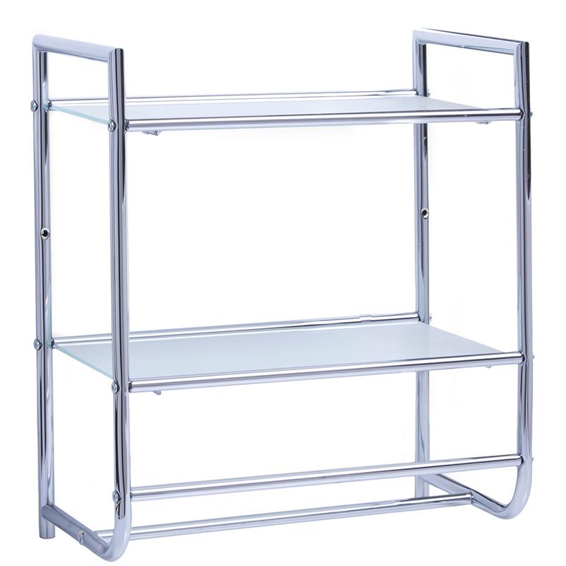 Scaffale A Muro Metallo.Scaffale A Muro In Metallo Con Mensole In Vetro 4003368184234