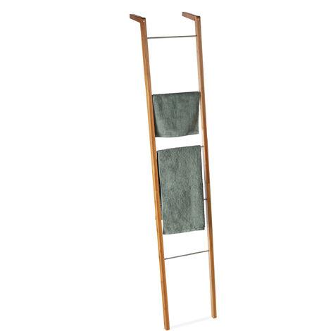 Scaffale a Scala in Bambù, Porta Asciugamani Decorativo, 5 Pioli, Appendiabiti, HxLxP: 180 x 35 x 20 cm, Color Legno Naturale