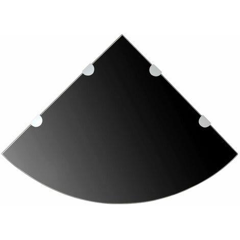 Scaffale Angolare con Supporti Cromati Vetro Nero 45x45 cm