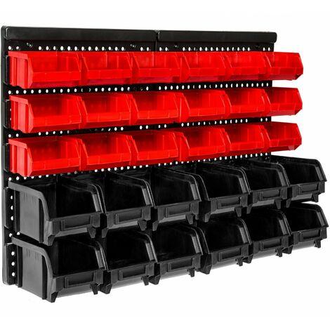 Scaffale da parete con 30 cassettini impilabili - scaffali metallici, scaffalature metalliche, scaffali in metallo - nero