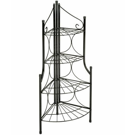 """main image of """"Scaffale d'angolo per piante a 4 piani - scaffale porta piante, scaffali da esterno per piante, scaffale piante - nero"""""""