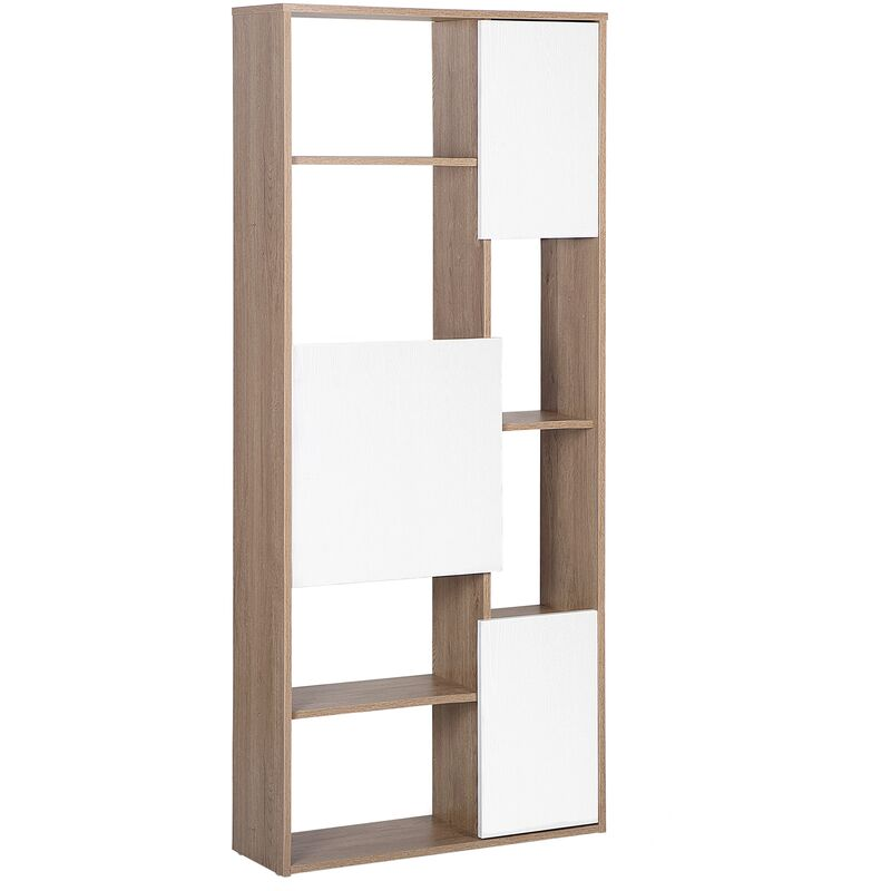 Scaffale in legno chiaro e bianco GRADA - 182264