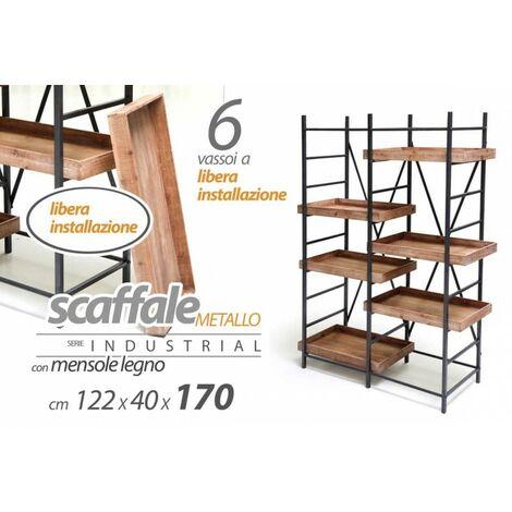 Scaffale in metallo mensole legno libere stile urban industrial cm 122 x 40 x 170 h