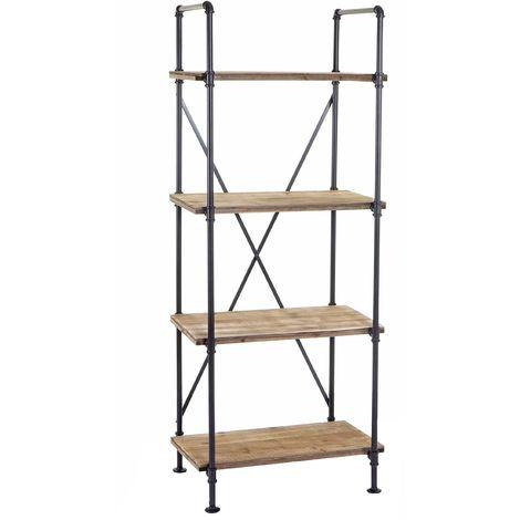 Scaffale libreria HWC-D96 legno metallo 4x ripiani