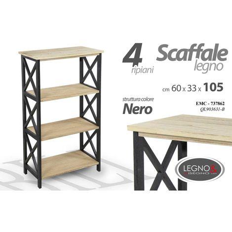 Librerie In Metallo Scaffali.Scaffale Libreria In Metallo E Legno 60x33xh105cm 4 Ripiani Arredo Ql903632 B