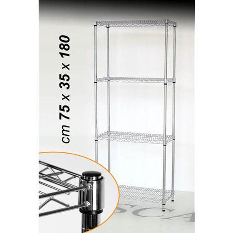 Scaffali Ufficio Metallo.Scaffale Modulare In Metallo 4 Ripiani 75x35xh180cm Arredo Ufficio Ld7535180 A4