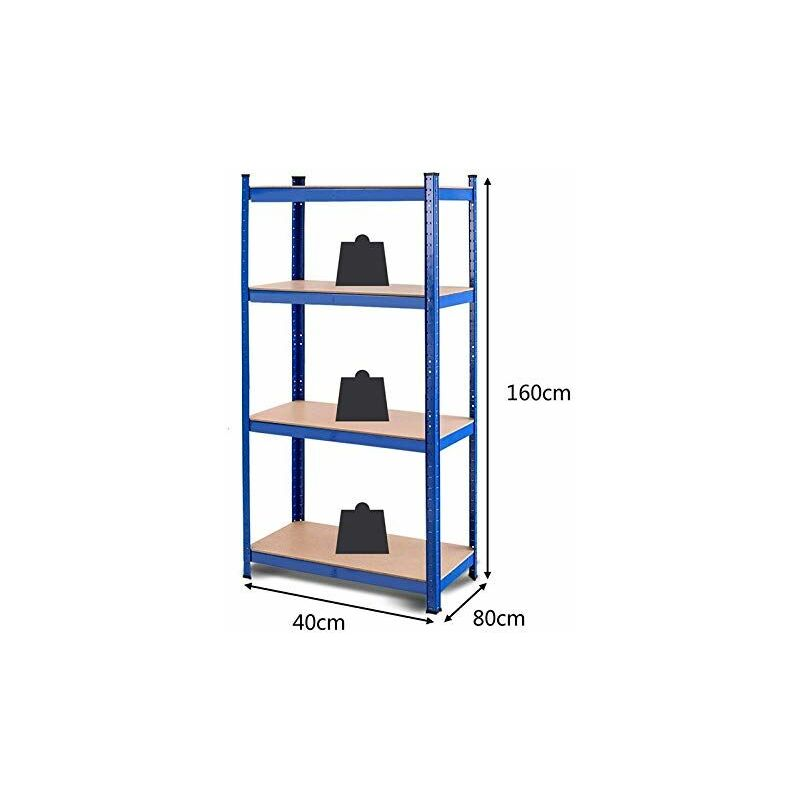 Scaffale Metallo 80 X 40.Scaffale Per Carichi Pesanti Scaffalatura In Metallo Per Garage Officina A 4 Ripiani 80 X 40 X 160 Cm