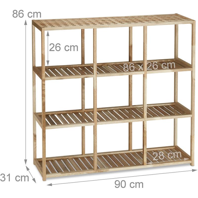 Scaffale per cucina e bagno in legno di noce, autoportante, 4 ripiani,  versatile, HxLxP: 86x90x31 cm, colore naturale